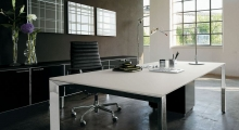 Diamond Executive White and Chrome Desk with Storage