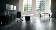 Diamond Executive White and Chrome Desk