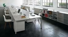 Diamond White Bench Desk Open Plan and Open Shelving