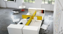 Diamond White Bench Desk with Fabric Yellow Screen