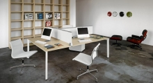 Diamond White Bench Desk with Open Shelving