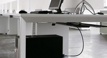 Diamond White Bench Desk with PC Holder