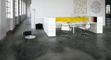 Diamond White Bench Desk with Side Filer