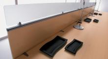 Kompas Beech Desk  and Desk Mounted Screen