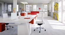 TenUp Benching Desk System White and Red